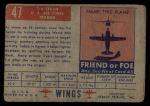 1952 Topps Wings #47   T-6 Texan Back Thumbnail