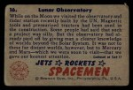 1951 Bowman Jets Rockets and Spacemen #16   Lunar Observatory Back Thumbnail