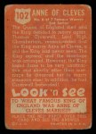 1952 Topps Look 'N See #102  Anne of Cleves  Back Thumbnail