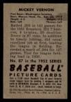 1952 Bowman #87  Mickey Vernon  Back Thumbnail