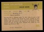 1961 Fleer #195  Alan Goldstein  Back Thumbnail