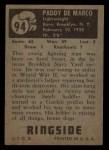 1951 Topps Ringside #94  Paddy Demarco  Back Thumbnail