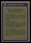 1972 Topps #271   -  Paul Warfield All-Pro Back Thumbnail