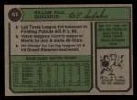 1974 Topps #63  Bill Sudakis  Back Thumbnail