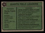 1974 Topps #78   -  Charlie Fox / Joe Amalfitano / Andy Gilbert / Don McMahon / John McNamara Giants Leaders Back Thumbnail