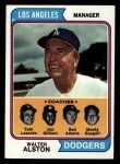 1974 Topps #144   -  Walter Alston / Red Adams / Monty Basgall / Jim Gilliam / Tommy Lasorda Dodgers Leaders   Front Thumbnail