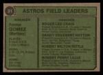 1974 Topps #31   -  Preston Gomez / Roger Craig / Grady Hatton / Hub Kittle / Bob Lillis Astros Leaders Back Thumbnail