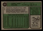 1974 Topps #67  Tommy Helms  Back Thumbnail