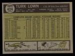 1961 Topps #424  Turk Lown  Back Thumbnail