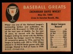 1961 Fleer #86  Zach Wheat  Back Thumbnail