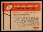 1960 Fleer #72  Thurlow Cooper  Back Thumbnail