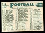 1960 Topps #102   Steelers Team Checklist Back Thumbnail