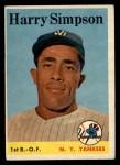 1958 Topps #299  Harry Simpson  Front Thumbnail