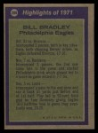 1972 Topps #286   -  Bill Bradley All-Pro Back Thumbnail