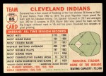 1956 Topps #85 D55  Indians Team Back Thumbnail