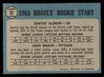 1965 O-Pee-Chee #82   -  Sandy Alomar / John Braun Braves Rookies Back Thumbnail