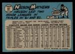 1965 O-Pee-Chee #87  Nelson Mathews  Back Thumbnail