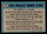 1965 O-Pee-Chee #107   -  Pat Corrales / Costen Shockley Phillies Rookies Back Thumbnail