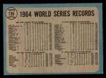 1965 O-Pee-Chee #139   1964 World Series - Summary - The Cards Celebrate Back Thumbnail