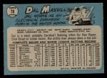 1965 O-Pee-Chee #78  Dal Maxvill  Back Thumbnail