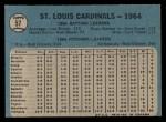 1965 O-Pee-Chee #57   Cardinals Team Back Thumbnail