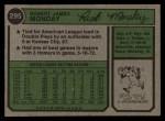 1974 Topps #295  Rick Monday  Back Thumbnail