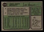 1974 Topps #318  Jim Merritt  Back Thumbnail