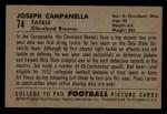 1952 Bowman Small #74  Joe Campanella  Back Thumbnail