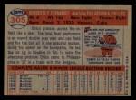 1957 Topps #305  Chico Fernandez  Back Thumbnail