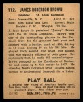 1940 Play Ball #112  Jimmy Brown  Back Thumbnail