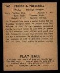 1940 Play Ball #146  Tot Pressnell  Back Thumbnail