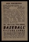 1952 Bowman #194  Bob Porterfield  Back Thumbnail