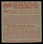 1955 Red Man #13 NL x John Antonelli  Back Thumbnail