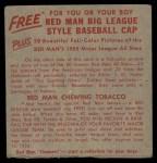 1955 Red Man #6 NL x Sal Maglie  Back Thumbnail