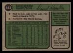 1974 Topps #633  Dave Hamilton  Back Thumbnail