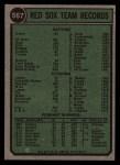 1974 Topps #567   Red Sox Team Back Thumbnail