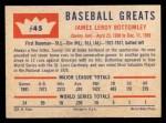 1960 Fleer #45  Jim Bottomley  Back Thumbnail