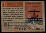 1952 Topps Wings #13   Sunderland Back Thumbnail