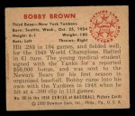 1950 Bowman #101  Bobby Brown  Back Thumbnail