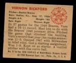 1950 Bowman #57  Vern Bickford  Back Thumbnail