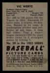 1952 Bowman #39  Vic Wertz  Back Thumbnail