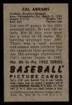 1952 Bowman #86  Cal Abrams  Back Thumbnail