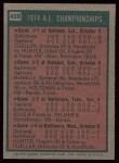 1975 Topps #459   -  Brooks Robinson 1974 AL Championships Back Thumbnail