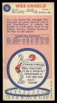 1969 Topps #56  Wes Unseld  Back Thumbnail
