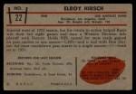 1953 Bowman #22  Elroy Hirsch  Back Thumbnail