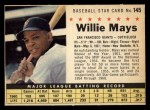 1961 Post Cereal #145 COM Willie Mays   Front Thumbnail