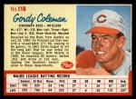 1962 Post Cereal #116  Gordy Coleman   Front Thumbnail