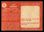 1958 Topps CFL #15  Tommy Grant  Back Thumbnail