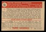 1952 Topps #186 CRM Walt Masterson  Back Thumbnail