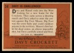 1956 Topps Davy Crockett #34   Davy Is Challenged  Back Thumbnail